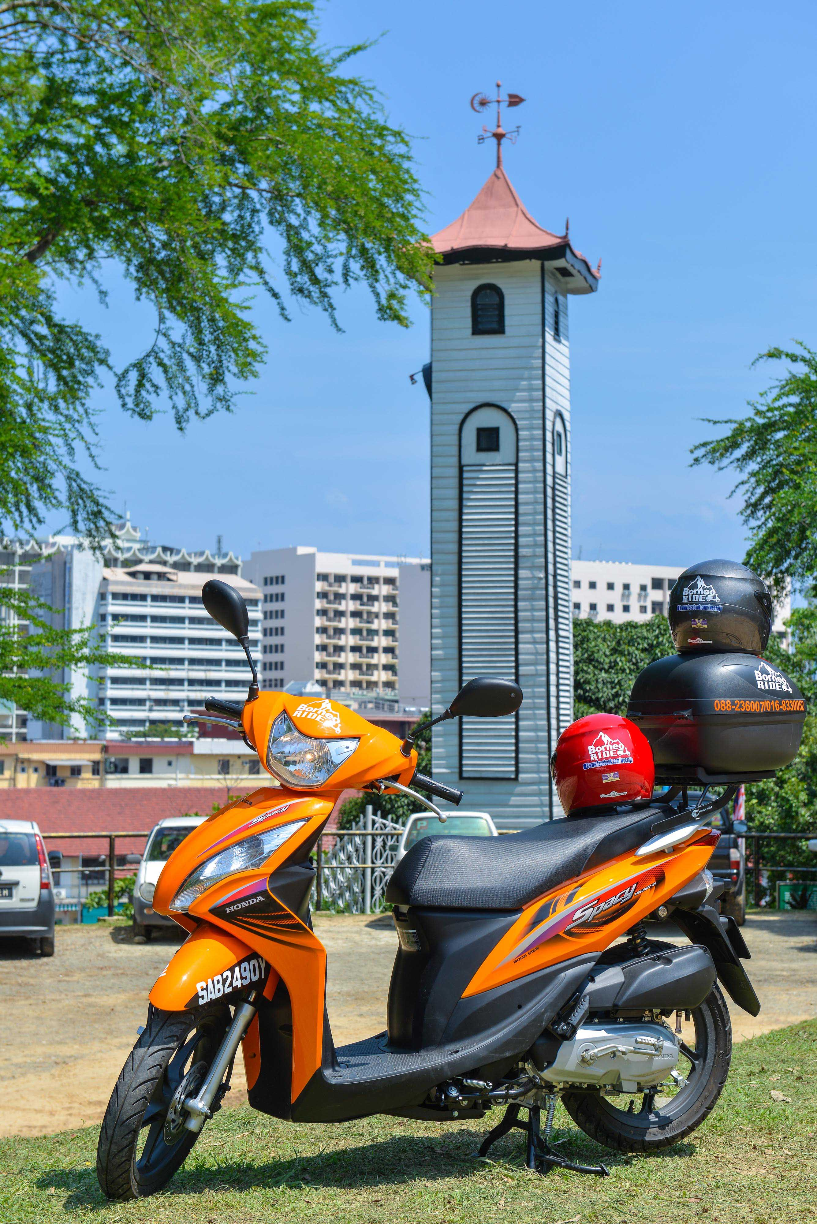 Borneoride motorbike at Atkinson Clock Tower, Kota Kinabalu